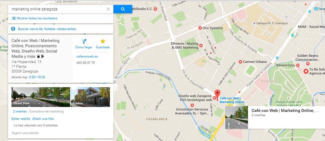 Mapa Marketing Online Zaragoza