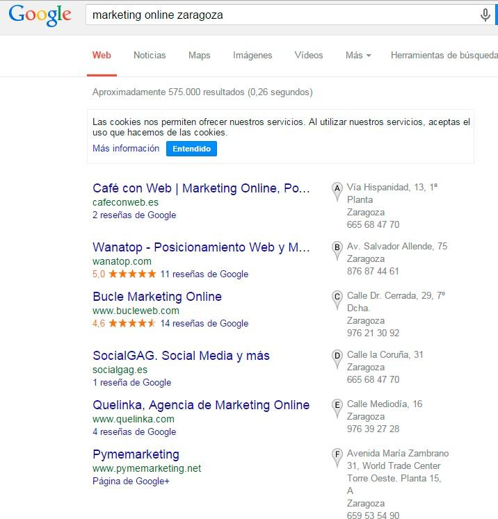 Búsqueda de Marketing Online Zaragoza