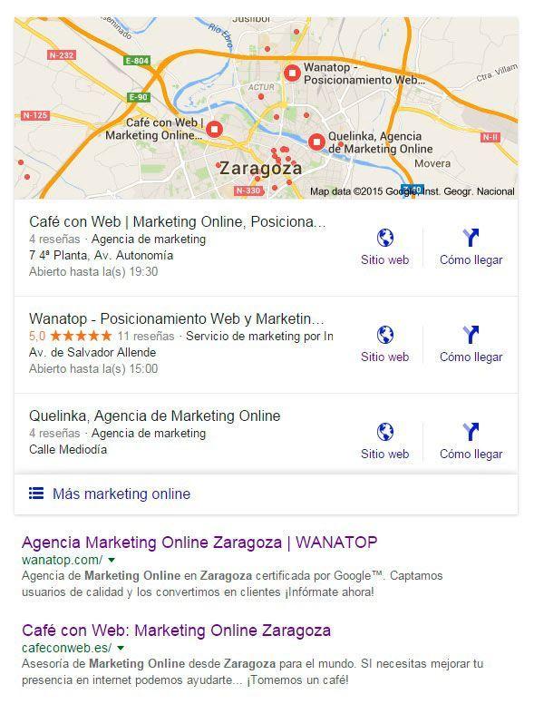 Resultados de Google Maps en los resultados de búsqueda web
