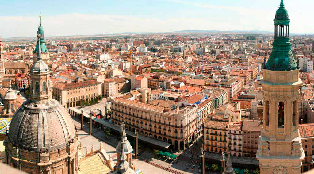 Vista aérea de Zaragoza por la zona del Pilar