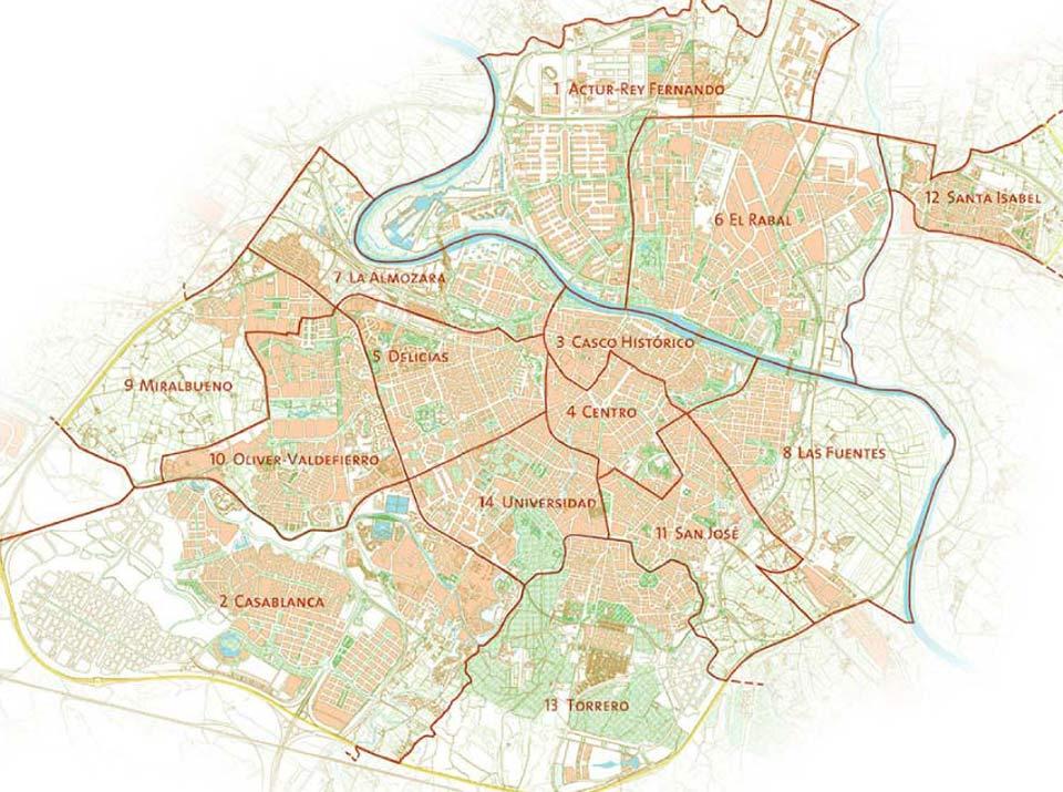 Vista en mapa de los distritos de Zaragoza