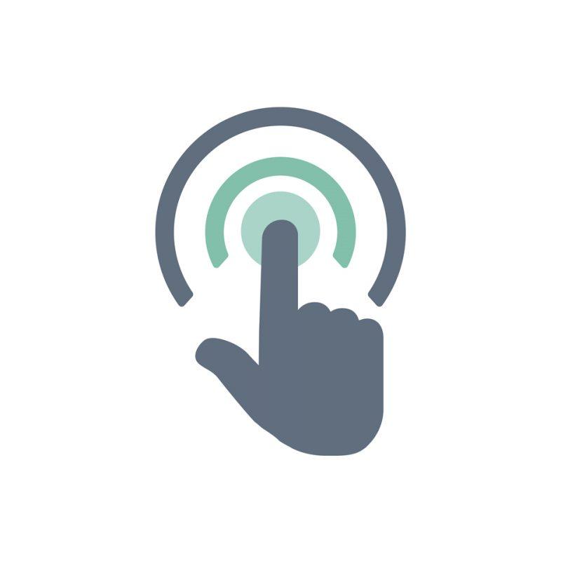 """imagen de una mano haciendo el gesto de tocar referido al """"click to call"""""""