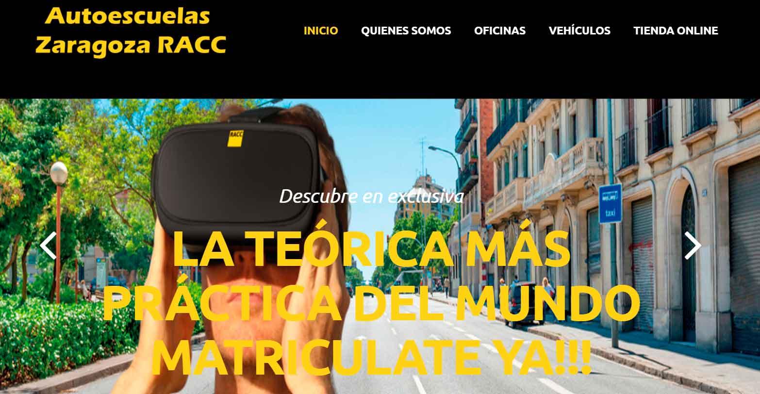 Pagina principal de la autoescuela Zaragoza Racc