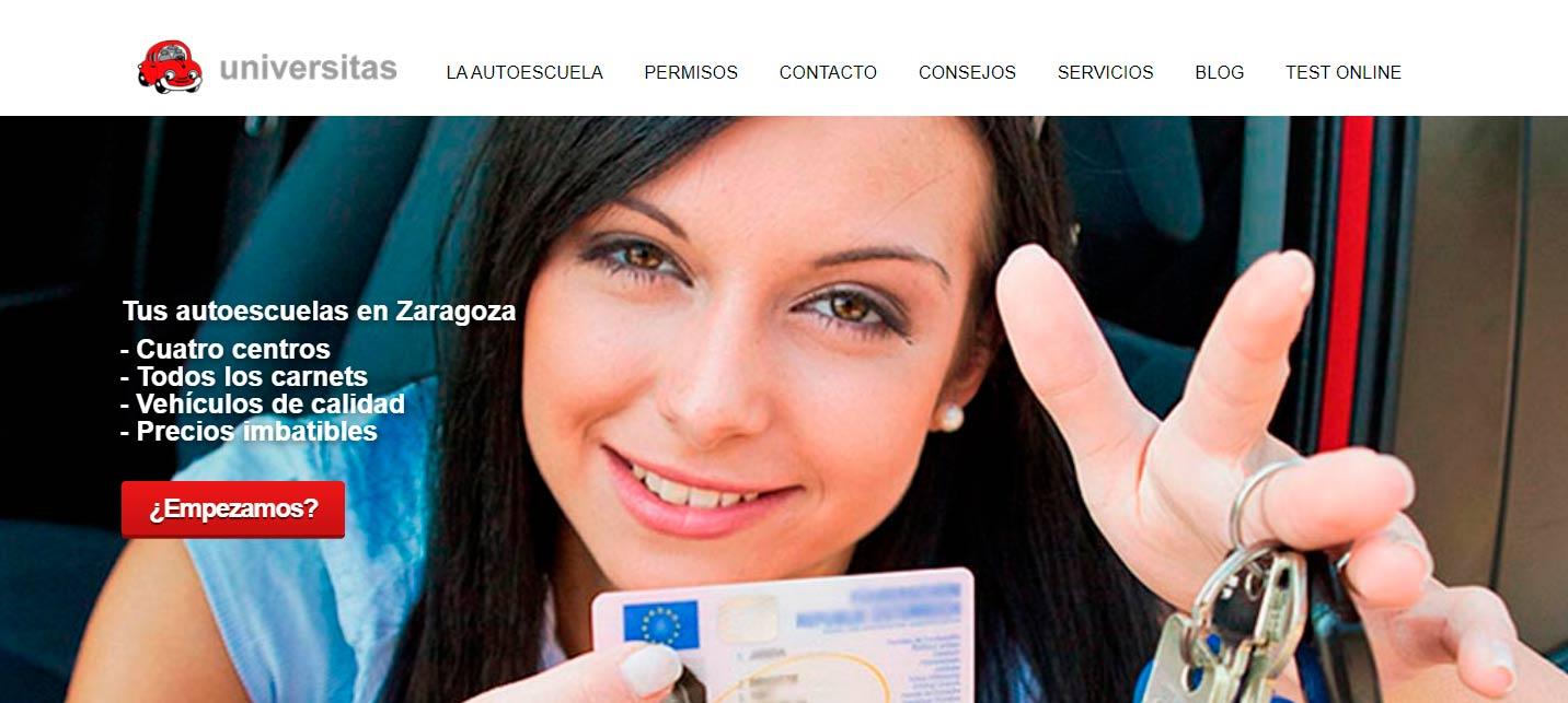 Pagina principal de la autoescuela Universtias