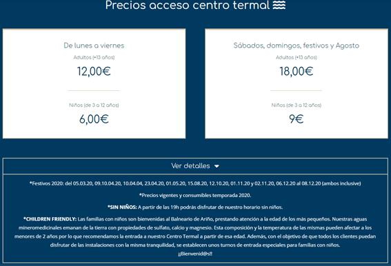 precios balnearios Aragón